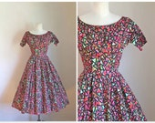 vintage 1950s party dress - ABSTRACT ART novelty print gown / XS