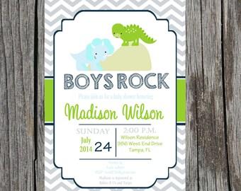 Printed Dinosaur Baby Shower Invitation, dinosaurs, baby boy shower, DIY and printable