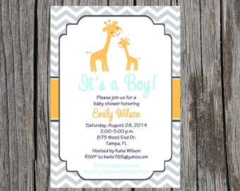 Printed giraffe Baby Shower Invitation, jungle baby shower, giraffe, baby boy shower, boy