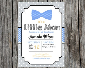 Little Man Baby Shower Invitation, bowtie baby shower, baby boy, little boy, little man, tie, DIY And printable