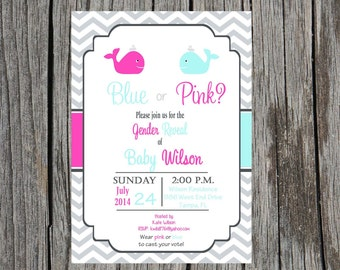 Gender Reveal Party Invitation, whale gender reveal party, whales, blue or pink, custom and printable