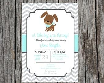 Puppy Baby Shower Invitation, puppy invitation, puppy dog baby shower, baby boy shower, DIY and printable