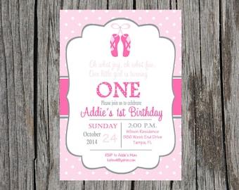 Printed Ballet birthday party Invitation, baby girl, girl birthday, ballet slippers, dancer invitations