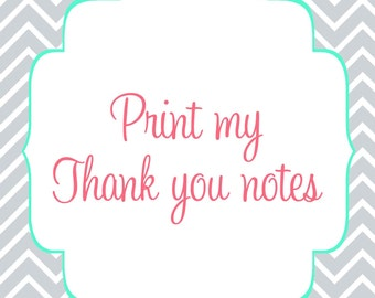 Printed thank you notes, print my thank you cards, Choose amount, thank you notes to coordinate with invitations