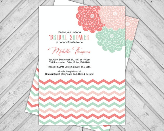 Flowers and Chevron Bridal Shower Invitation, Peach, Coral and Mint Green, Printable file (654)