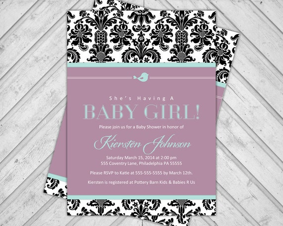 damask baby shower invites for girls in purple - bird baby shower invitations - printable shower invitations - damask invitation (764)