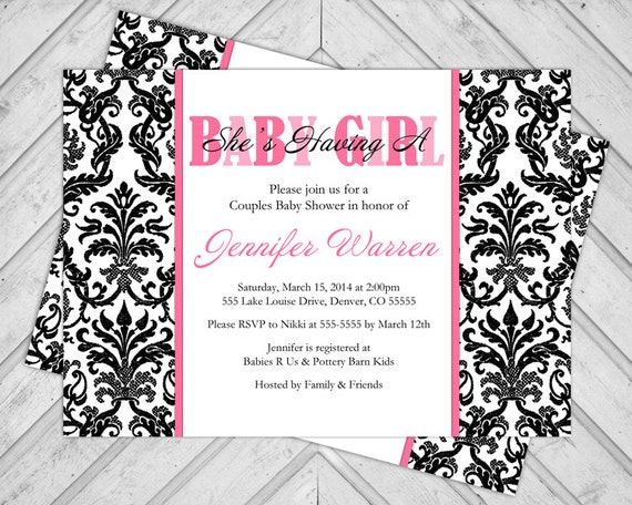 Damask Baby Shower Invite Girls - Black and Hot Pink - Couples Shower Invitations - DIY Printable (704)