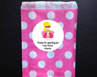 Pool Party Favor Bags & Personalized Stickers, Set of 12
