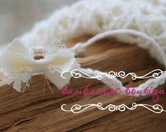 ivory bow headband, tiny newborn headband, baby headband, dainty headband, petite flower headband