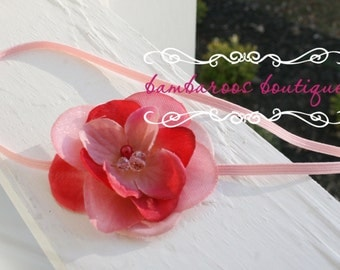 Baby head bands, Newborn Headband, Vintage Headband, Girl Headband, pink flower headband