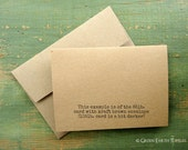 """A1 Folded Cards & Envelopes, Kraft Brown Cards, Blank Note Cards and Envelopes, Recycled, 3 1/2"""" x 4 7/8"""" (89 x 124mm) or 3.5x5, Set of 25"""