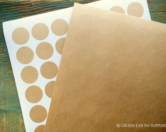 """315 Kraft Stickers, 1"""" circles, kraft brown recycled stickers, 1 inch (25mm) round stickers, mini labels, eco-friendly labels (5 sheets)"""