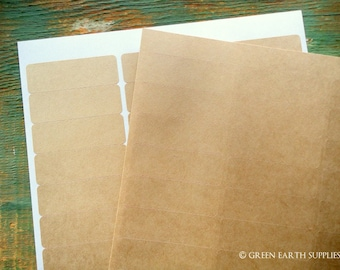"""150 Kraft Address Labels, Recycled Address Labels, eco blank stickers, rectangular kraft brown stickers, 5 sheets, 2 5/8""""x1"""" (67x25mm)"""