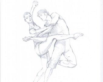 Ballet dancers drawing Original art