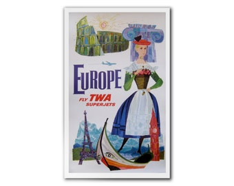 David Klein EUROPE TWA poster pro LINEN Backed original