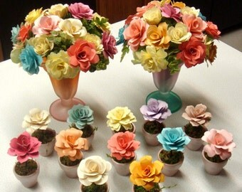 Luncheon or Shower Table arrangements and Name Placements in pots