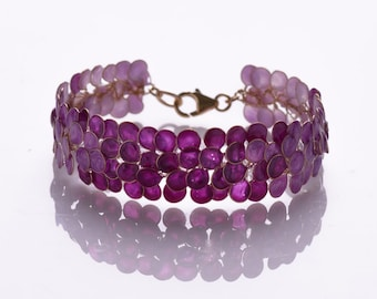 Wire Wrapped Handmade Bracelet, Enamel Bracelet, Purple Bracelet, Bridal Bracelet, Statement Bracelet, Designer Bracelet, Purple Wedding