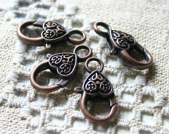 8pcs Clasp Lobster Claw Antiqued Copper Finished Pewter 20x13mm Fancy Heart Design