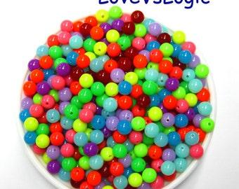 60 Bubble Gum Plastic Beads. 8mm. Mix Colors.