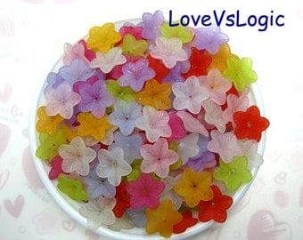 50 Acrylic Flower Beads Charms.Mix Matte Colors.