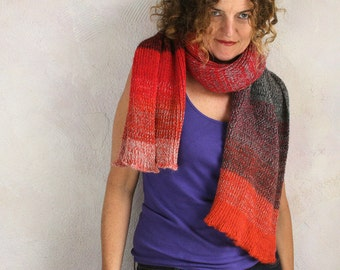 Charcoal, Pumpkin Red soft chunky long ribbed unisex scarf knit with cotton and kid mohair