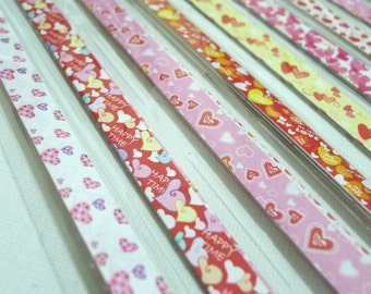 My Valentine Love - Sweet Heart Origami Lucky Star Folding Paper - flat pack of 70- 80 strips