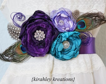 PEACOCK SASH Purple Lavender Teal Handmade Flowers Feathers Pearl Satin Wedding Bridal Sash Bride Belt Or Pregnancy Maternity Mom Photo Prop