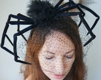 The Original Huge BLACK WIDOW Spider Halloween Headpiece Gothic Steampunk Scary Creepy Costume Party Headband Birdcage Veil Dark Wedding