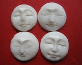 hand carved bone faces, beads, cabachons, moons, goddess, you decide 15 mm lot of four wholesale