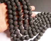 Lava volcanic gems - 16mm round - full strand -  AA quality - 25 beads