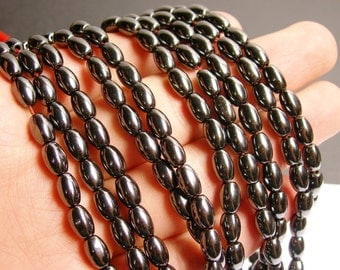 Hematite rice beads 5x8mm - full strand - 51 beads - AA quality - CHG27