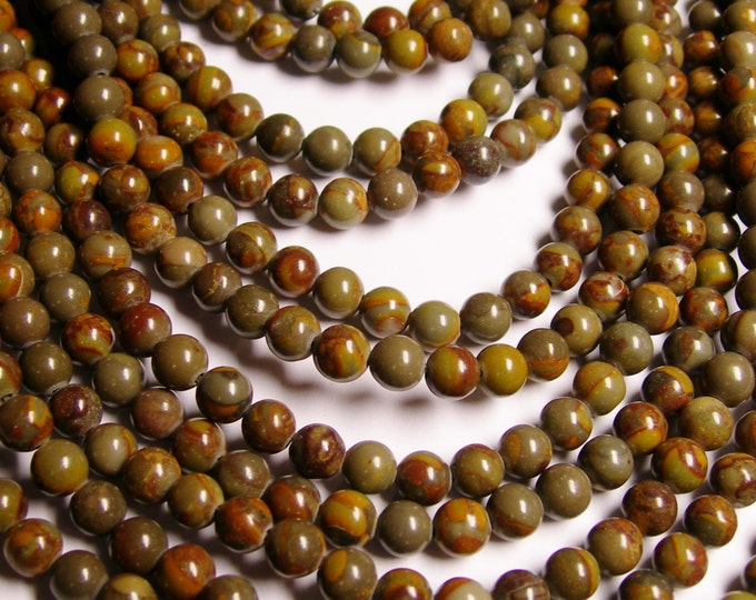 Bamboo leaf Jasper - 6 mm round beads -1 full strand - 64 beads - RFG1149
