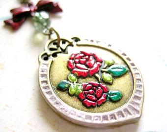Rose Pendant Necklace, Flower Jewelry, Mother's Day Necklace
