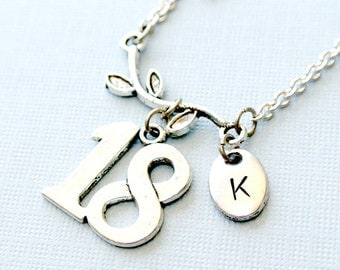 Sweet 18 Teen Girl Necklace,Initial Necklace, Initial Hand Stamped, Personalized, Antique Silver, Monogram