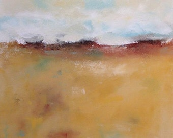 Yellow Abstract Landscape Painting Original Art -Fall Landscape 28 x 22
