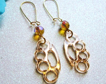 GHETTO GOLD-Gold Mirror Laser Cut Acrylic Knuckle Duster AB Gold Crystal Earrings