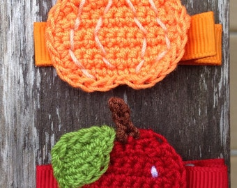 Fall Apple and Pumpkin Hair Clips - Back to School Thanksgiving