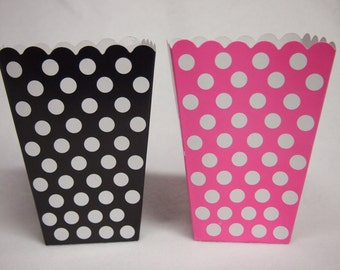 16 Minnie Mouse Popcorn Pink & Black Treat Polka Dots Goody Boxes Favor PopCorn Party