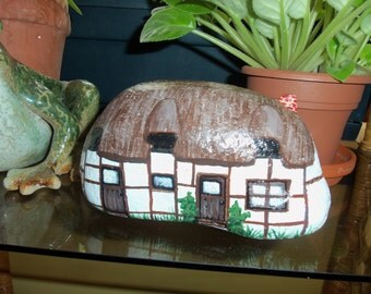 Thatched English Cottage painted rock