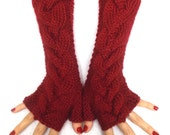 Fingerless Gloves Knit Wrist Warmers Cranberry Red Soft Cabled