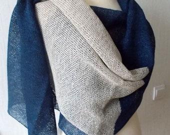 Linen Scarf Shawl Blue Grey Knitted Natural Summer Beach Wrap