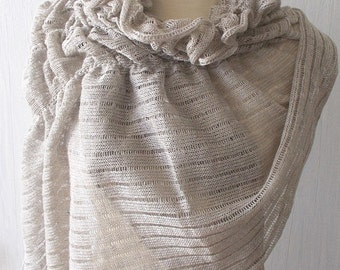 Linen Scarf Knit Shawl Wrap Flax Natural Summer Capelet Grey