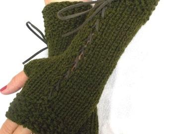 Knit Fingerless Gloves Dark Green Corset  Wrist Warmers