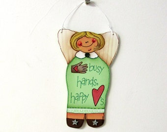 Busy Hands and Happy Heart Angel, Hanging Ornament, Tole Painted Ornament, Angel, Sign, Red Heart, Tan Work Glove,Angel Ornament,Small Angel