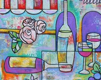 Wine Bottles Glasses Italian Restaurant Art Original painting  by Melanie Douthit free ship