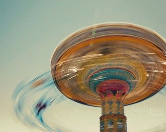 Carnival Photography - Nursery Decor - Blur - Fine Art Photography Print - pink, teal, aqua, yellow, blue