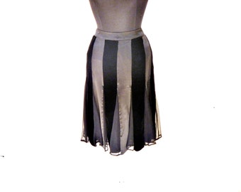 Goth Glamour Vintage 90's Velvet and Silk Over-the-Knee Skirt with Vertical Stripes by WDNY Size Large