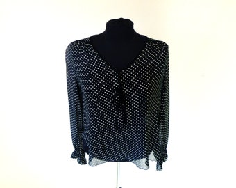 Vintage 70's Sheer Black Boxy Blouse with Subtle Polka-Dots and Velvet Tie String at Neck by Chessa Davis