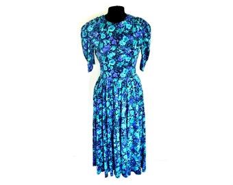 Vintage 90's Bright Purple and Teal Flowers Print on Sweatshirt Jersey Cotton Maxi Dress by EXPO® Size 10