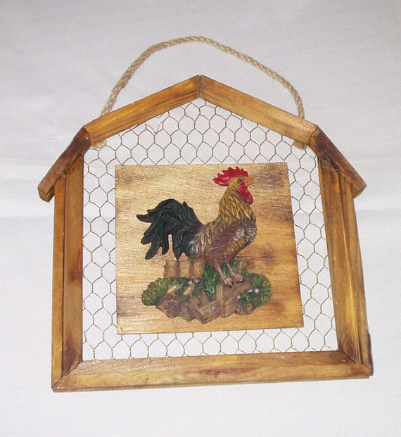 Wall Hanging Plaque Wall Art Barn Shaped Chicken Wire Rustic Country